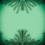 Green branches forming a frame on a pastel green background royalty free stock photography