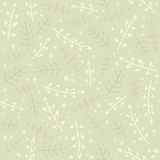 Green branches seamless pattern. Vector EPS10 hand drawn plant seamless pattern Royalty Free Stock Images
