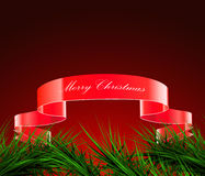 Green branches of spruce and ribbon on a red background,. Vector Stock Images
