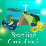 Green Brazilian carnival background with festive masks. Green shiny Brazilian carnival background with color festive masks. Vector illustration Royalty Free Stock Images