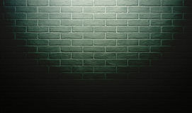 Green brick wall with light effect and shadow, abstract background photo Royalty Free Stock Photo