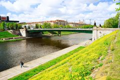 Green Bridge over Neris River in Vilnius Royalty Free Stock Images