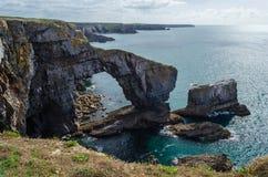 Green Bridge in the Pembrokeshire Coastal Path – Wales, United Kingdom Stock Images