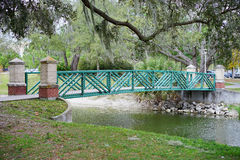 A green bridge in USF campus Royalty Free Stock Images