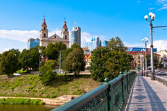 The Green Bridge in Vilnius Royalty Free Stock Images