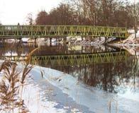 The green bridge. Green bridge in a winter landscape Stock Photography