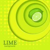 Green bright background with circles on top of each other and citrus fruit lime. Vector illustration. Royalty Free Stock Images