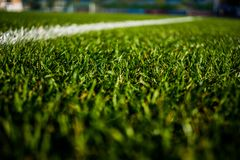 Green bright colorful grass pitch of football stafium, close up with beautiful bokeh. And stripes stock photo