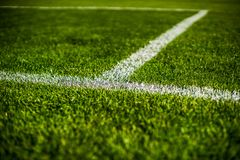 Green bright colorful grass pitch of football stafium, close up with beautiful bokeh royalty free stock photo