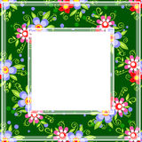 Green bright floral border. Abstract floral border on a gray bright green background Royalty Free Stock Images