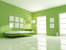 Green bright room Stock Photo
