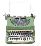 Green british typewriter with paper  cute illustration Stock Images