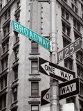 Green broadway sign. In a black and white abstract photo stock images