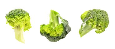 Isolated broccoli set on white background with clipping path. Green broccoli cabbage branches isolated on white with clipping path. healthy eating concept Stock Image