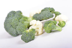 Green broccoli and cauliflower on white background Royalty Free Stock Photo