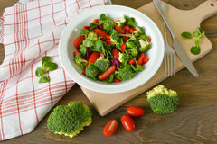 Green broccoli salad top view stock images