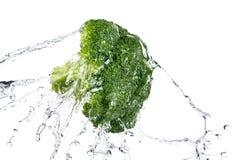 Green broccoli thrown into a water Stock Photos