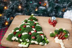 A green broccoli tree with tomatoes on a wooden board Stock Images