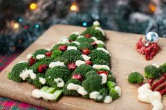 A green broccoli tree with tomatoes on a wooden board Stock Image