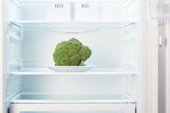 Green broccoli on white plate in open empty refrigerator Royalty Free Stock Images