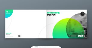 Green Brochure design. Horizontal cover template for brochure, report, catalog, magazine. Layout with gradient circle. Shapes and abstract photo background vector illustration