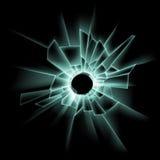 Green Broken Glass Window with Bullet Hole vector illustration