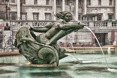 Green bronze. Fountain on Trafalgar square Royalty Free Stock Photography