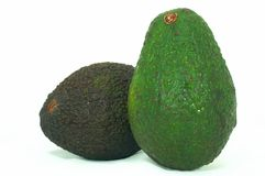 Green and Brown Avocado. Avocado, Brown and Green on it's side, isolated white background Royalty Free Stock Photo