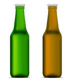 Green and brown beer bottles Royalty Free Stock Photos