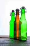 Green and brown beer bottles. Retro. Isolated Royalty Free Stock Images