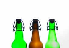 Green and brown beer bottles. Retro. Isolated Royalty Free Stock Image