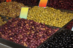 Green brown and black olives Royalty Free Stock Photography