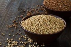 Green and brown buckwheat Stock Photo