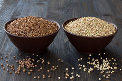 Green and brown buckwheat Royalty Free Stock Photos