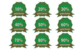 Green-brown discount badge Royalty Free Stock Photography