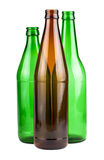 Green and brown empty bottles Royalty Free Stock Photos