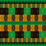 Green and brown ethnic carpet. With geometrical motifs Royalty Free Stock Photography