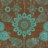 Green and brown floral background. Green and brown damask background with a grungy, weathered floral design or pattern Royalty Free Stock Photos