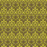 Green brown floral damask seamless pattern vector illustration