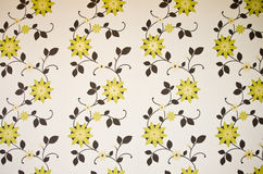 Green and brown floral wallpaper Stock Photography