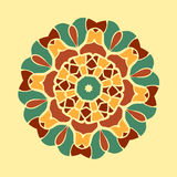 Green and brown mandala ornament symmetry seamless background. Decorative round ornament colouring anti-stress therapy Stock Image