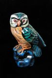 Green and brown owl ornament. Royalty Free Stock Photo