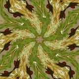 Green and brown kaleidoscope tracing effect vector illustration