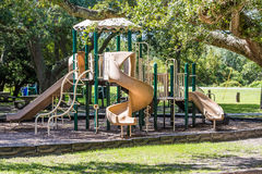 Green and Brown Playground in Public Park Royalty Free Stock Images