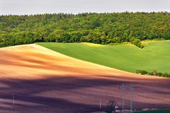 Green and brown spring ploughland. Rolling arable fields. In Czech Moravia Royalty Free Stock Images