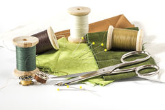Green and brown threads and fabrics Royalty Free Stock Image