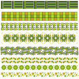 Green and brown trim or border collection Royalty Free Stock Images