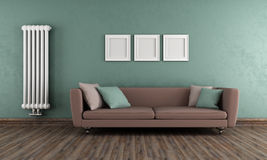 Green and brown vintage living room Royalty Free Stock Photo