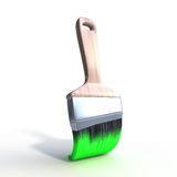 Green brush. 3d computer generated image of a brush with green paint isolated over white Stock Photos