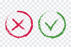 Green brushed checkmark OK and red X icons, isolated on white ba Royalty Free Stock Photography